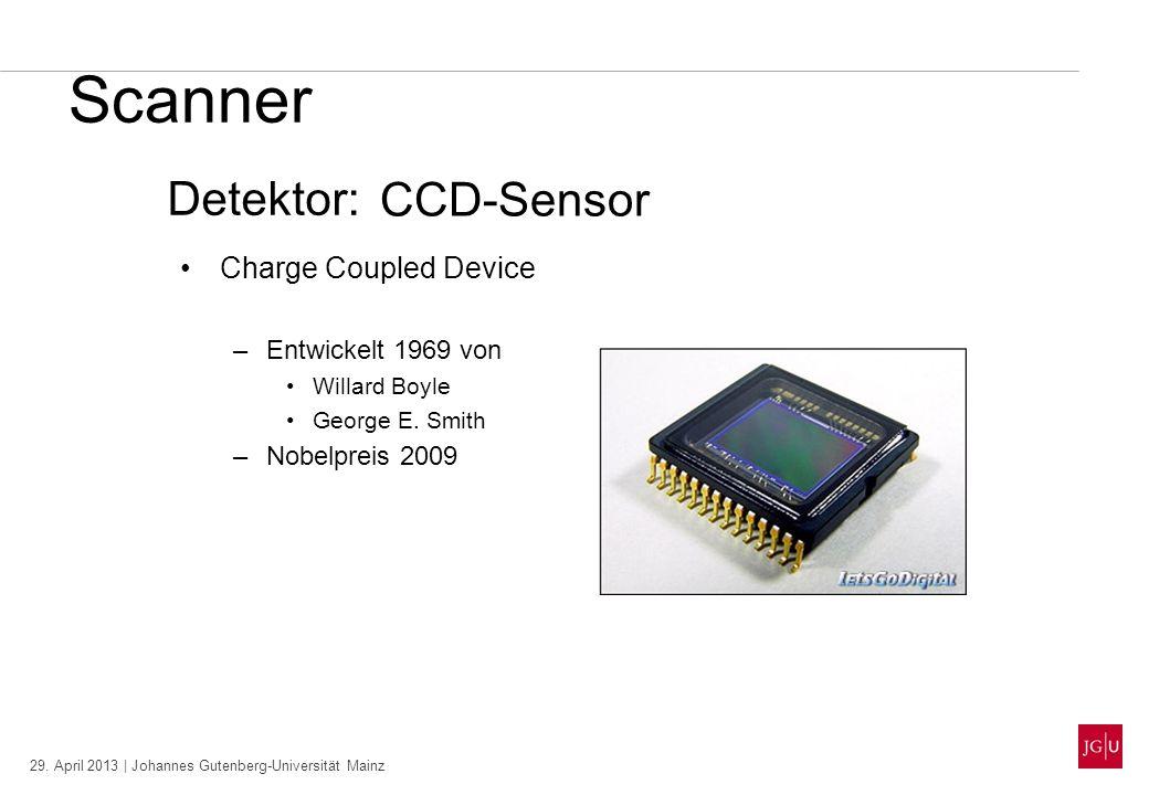 29. April 2013 | Johannes Gutenberg-Universität Mainz Scanner Charge Coupled Device –Entwickelt 1969 von Willard Boyle George E. Smith –Nobelpreis 200