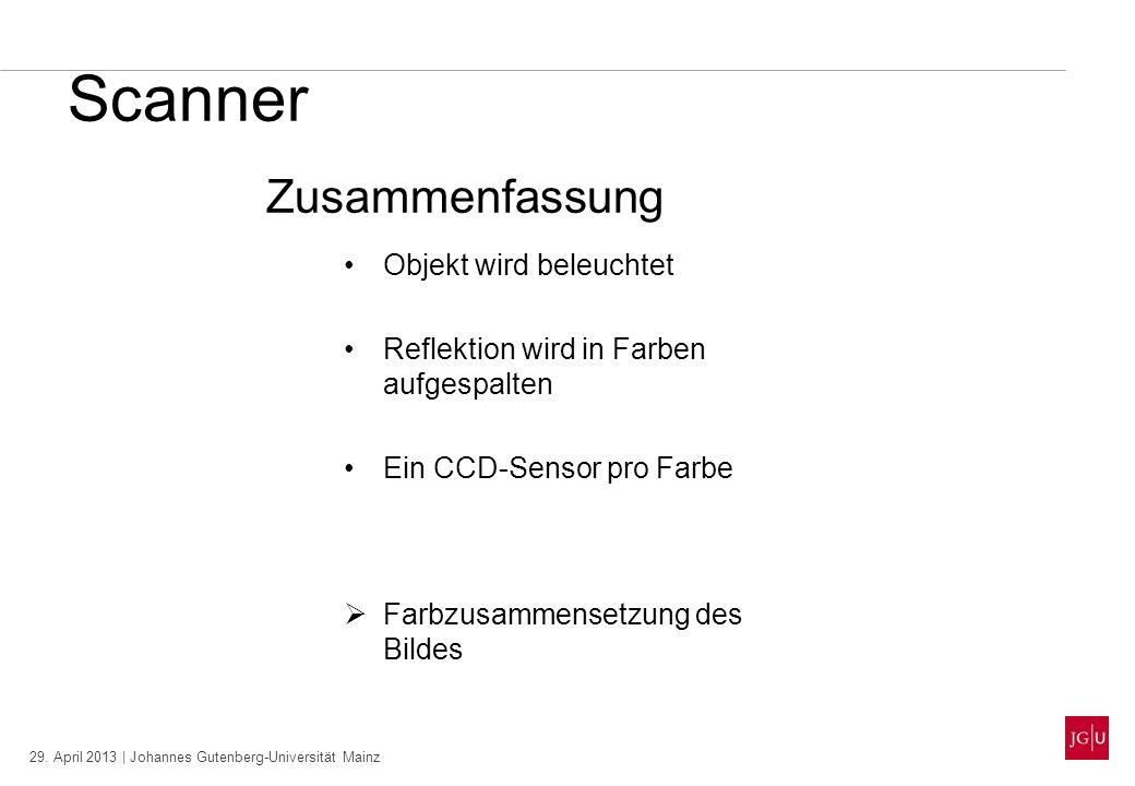 29. April 2013 | Johannes Gutenberg-Universität Mainz Scanner Zusammenfassung Objekt wird beleuchtet Reflektion wird in Farben aufgespalten Ein CCD-Se