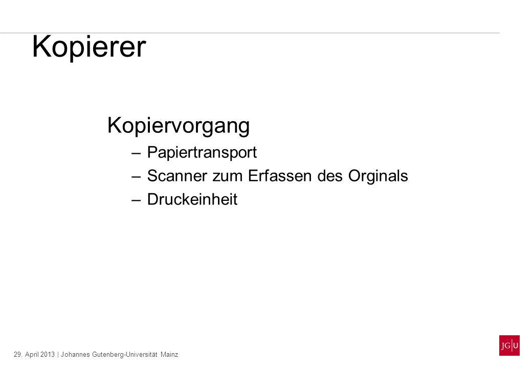 29. April 2013 | Johannes Gutenberg-Universität Mainz Kopierer Kopiervorgang –Papiertransport –Scanner zum Erfassen des Orginals –Druckeinheit