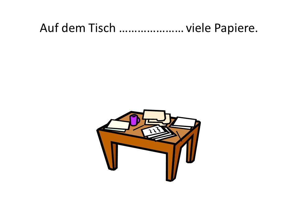 Auf dem Tisch ………………… viele Papiere.