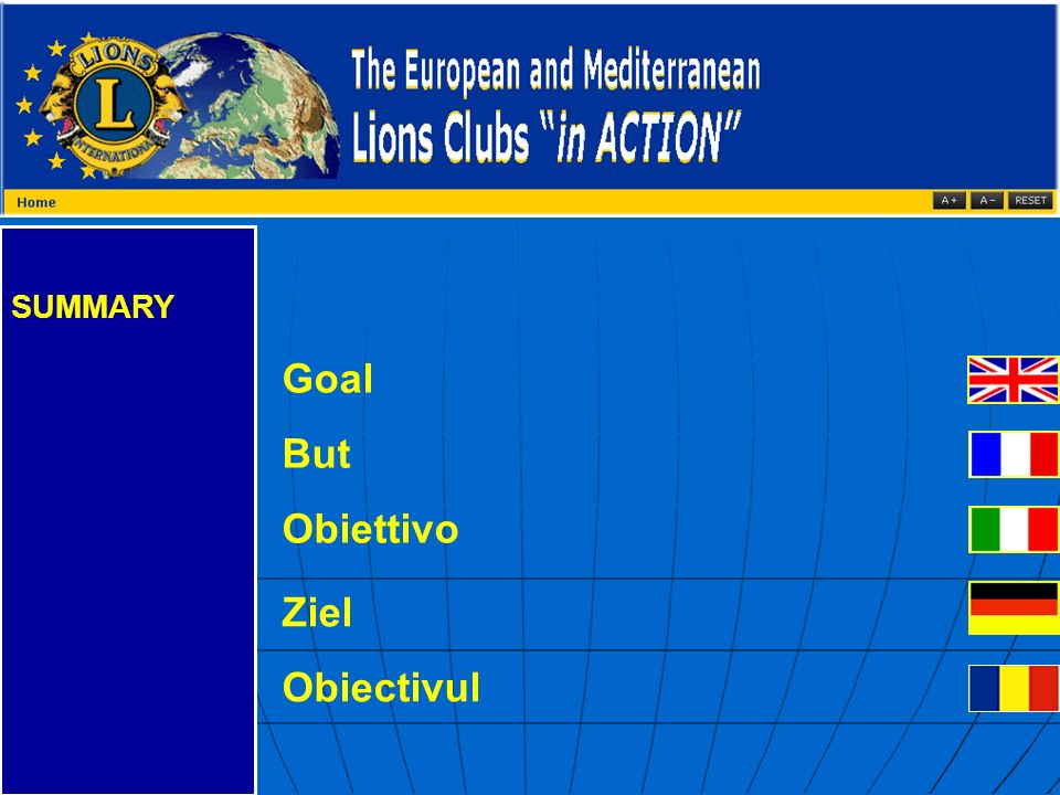 SUMMARY Goal But Obiettivo Ziel Obiectivul