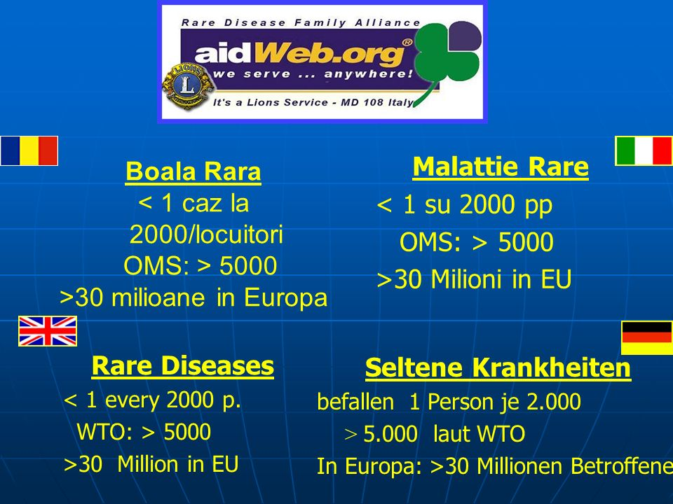 Rare Diseases < 1 every 2000 p. WTO: > 5000 >30 Million in EU Malattie Rare < 1 su 2000 pp OMS: > 5000 >30 Milioni in EU Seltene Krankheiten befallen