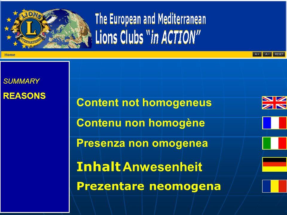 SUMMARY REASONS Content not homogeneus Contenu non homogène Presenza non omogenea Inhalt Anwesenheit Prezentare neomogena