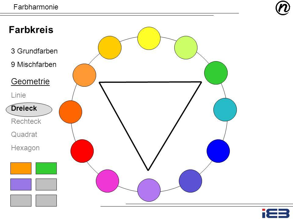 Farbharmonie Farbkreis 3 Grundfarben 9 Mischfarben Geometrie Linie Dreieck Rechteck Quadrat Hexagon