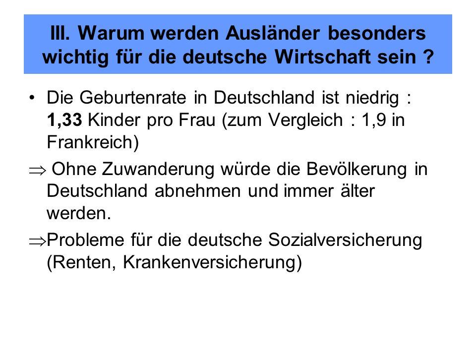 Die Geburtenrate in Deutschland ist niedrig : 1,33 Kinder pro Frau (zum Vergleich : 1,9 in Frankreich) Ohne Zuwanderung würde die Bevölkerung in Deuts