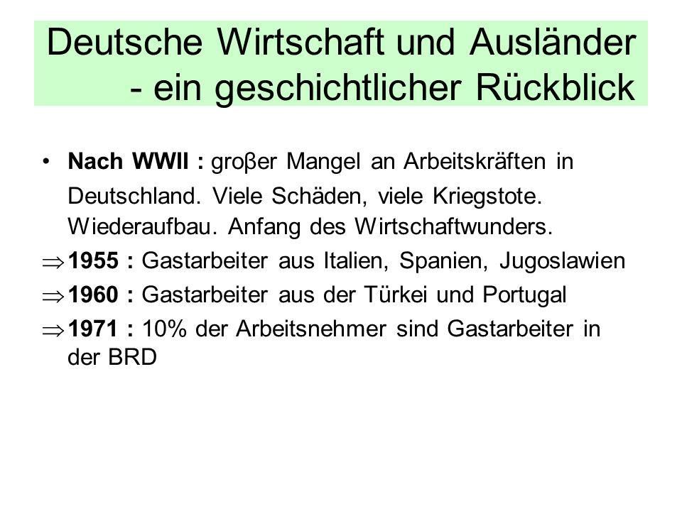 Deutsche Wirtschaft und Ausländer - ein geschichtlicher Rückblick Nach WWII : groβer Mangel an Arbeitskräften in Deutschland. Viele Schäden, viele Kri