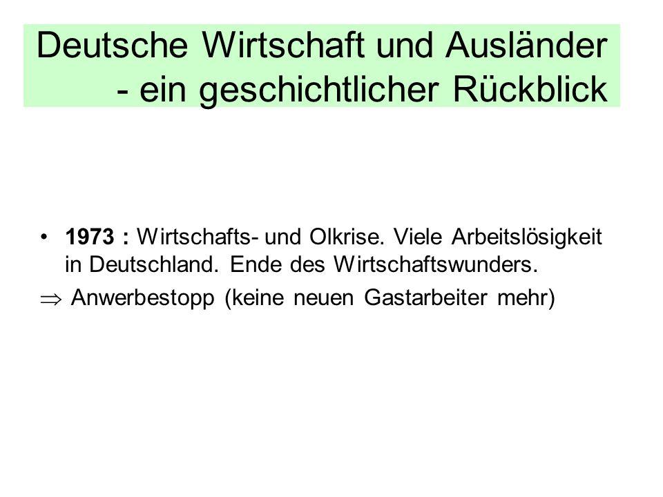 Deutsche Wirtschaft und Ausländer - ein geschichtlicher Rückblick 1973 : Wirtschafts- und Olkrise. Viele Arbeitslösigkeit in Deutschland. Ende des Wir