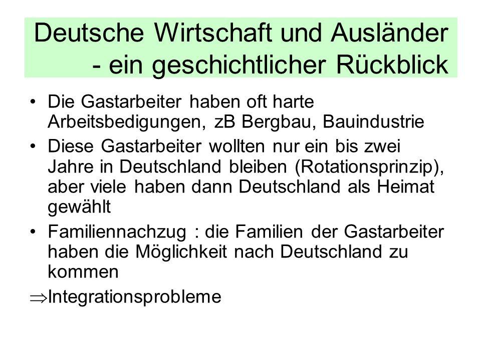 Die Gastarbeiter haben oft harte Arbeitsbedigungen, zB Bergbau, Bauindustrie Diese Gastarbeiter wollten nur ein bis zwei Jahre in Deutschland bleiben