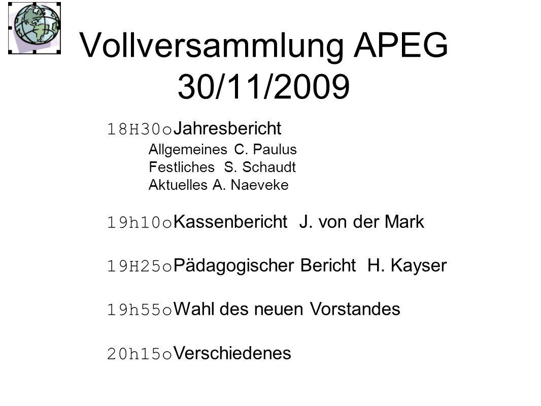 Vollversammlung APEG 30/11/2009 18H30o Jahresbericht Allgemeines C. Paulus Festliches S. Schaudt Aktuelles A. Naeveke 19h10o Kassenbericht J. von der