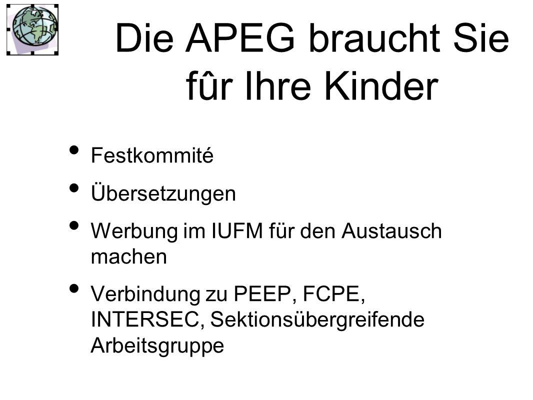 Die APEG braucht Sie fûr Ihre Kinder Festkommité Übersetzungen Werbung im IUFM für den Austausch machen Verbindung zu PEEP, FCPE, INTERSEC, Sektionsübergreifende Arbeitsgruppe