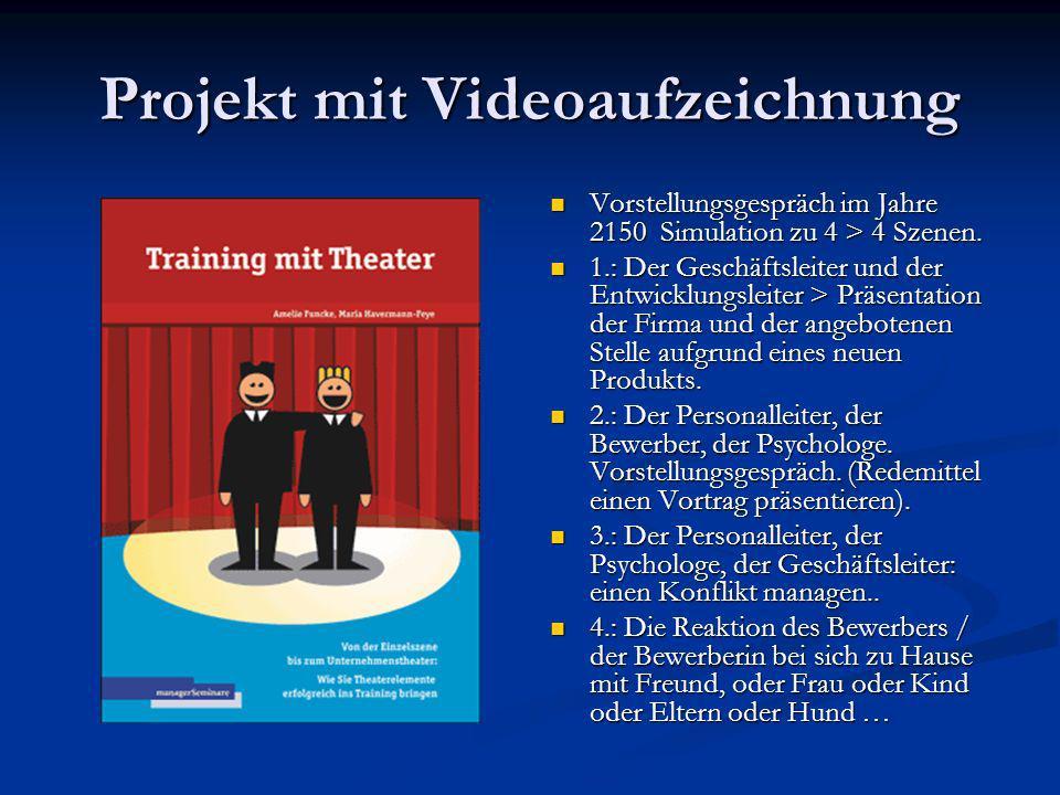 Projekt mit Videoaufzeichnung Vorstellungsgespräch im Jahre 2150 Simulation zu 4 > 4 Szenen. 1.: Der Geschäftsleiter und der Entwicklungsleiter > Präs