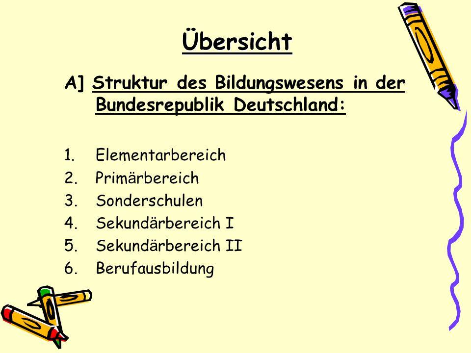 Übersicht A] Struktur des Bildungswesens in der Bundesrepublik Deutschland: 1.Elementarbereich 2.Prim ä rbereich 3.Sonderschulen 4.Sekund ä rbereich I