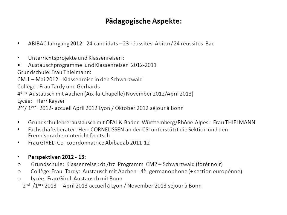Pädagogische Aspekte: ABIBAC Jahrgang 2012: 24 candidats – 23 réussites Abitur/ 24 réussites Bac Unterrichtsprojekte und Klassenreisen : Austauschprog