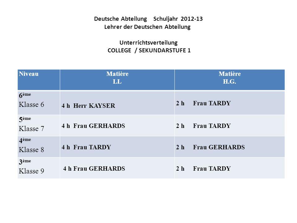 Deutsche Abteilung Schuljahr 2012-13 Lehrer der Deutschen Abteilung Unterrichtsverteilung COLLEGE / SEKUNDARSTUFE 1 NiveauMatière LL Matière H.G. 6 èm