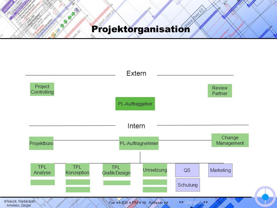 Nauck, Nadarajah, Amelew, Zeiger >> Übersicht >>Übersicht Fuer >> IEB > PM > Hr. Andexer >> Projektorganisation Extern Project Controlling QS Change M