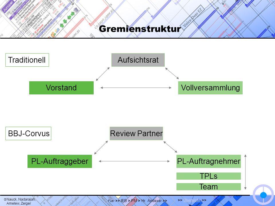 Nauck, Nadarajah, Amelew, Zeiger >> Übersicht >>Übersicht Fuer >> IEB > PM > Hr. Andexer >> Gremienstruktur PL-AuftragnehmerPL-Auftraggeber Review Par