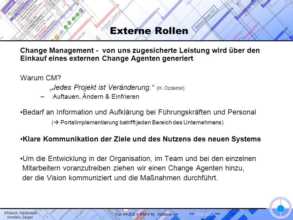 Nauck, Nadarajah, Amelew, Zeiger >> Übersicht >>Übersicht Fuer >> IEB > PM > Hr. Andexer >> Externe Rollen Change Management - von uns zugesicherte Le