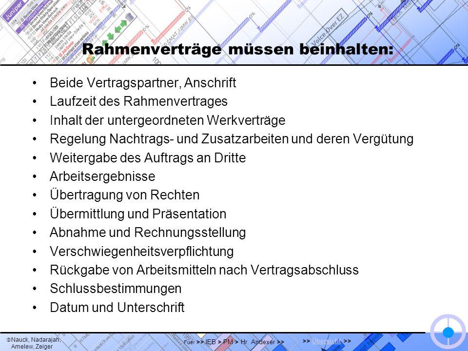 Nauck, Nadarajah, Amelew, Zeiger >> Übersicht >>Übersicht Fuer >> IEB > PM > Hr. Andexer >> Rahmenverträge müssen beinhalten: Beide Vertragspartner, A
