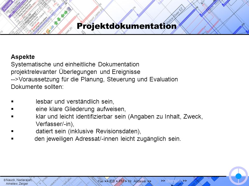 Nauck, Nadarajah, Amelew, Zeiger >> Übersicht >>Übersicht Fuer >> IEB > PM > Hr. Andexer >> Projektdokumentation Aspekte Systematische und einheitlich