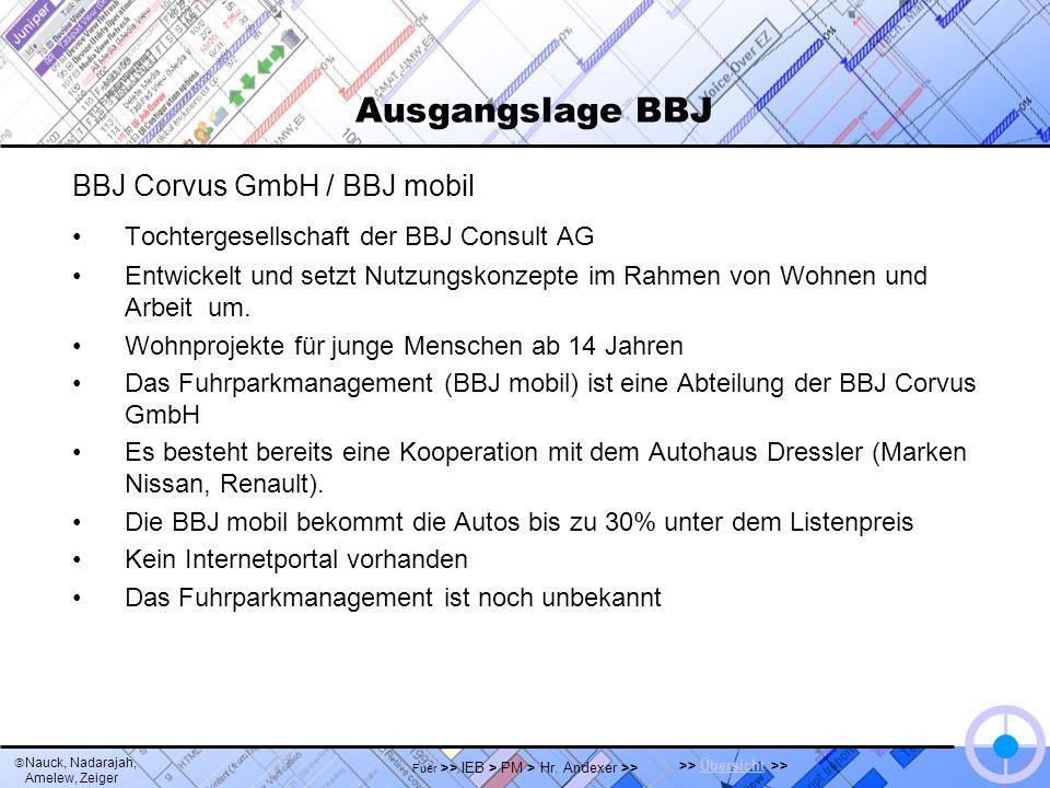 Nauck, Nadarajah, Amelew, Zeiger >> Übersicht >>Übersicht Fuer >> IEB > PM > Hr. Andexer >> Ausgangslage BBJ BBJ Corvus GmbH / BBJ mobil Tochtergesell