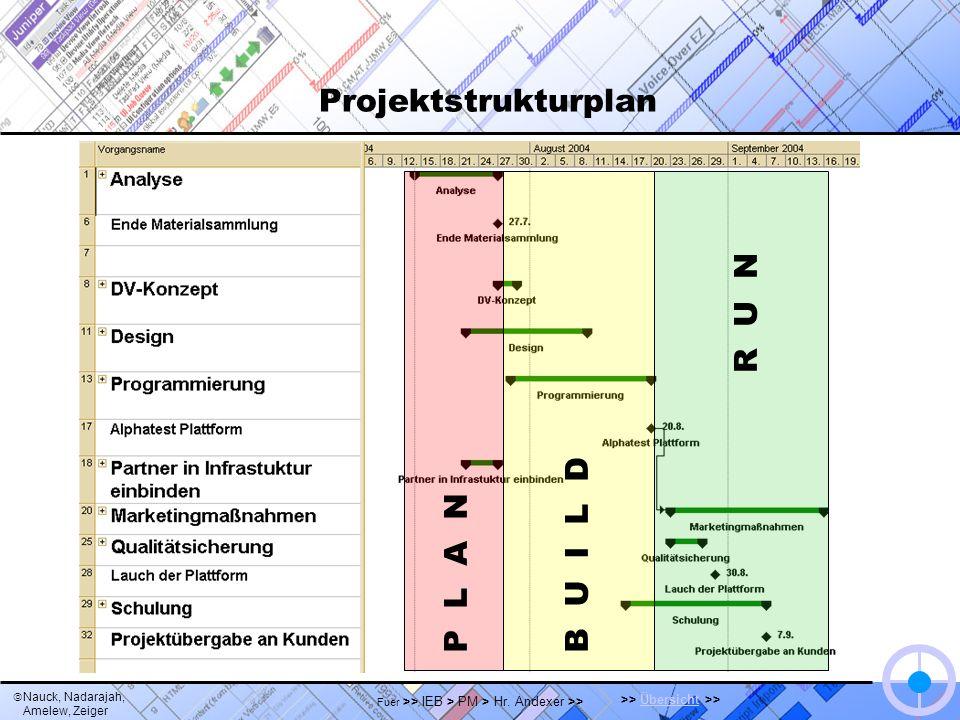 Nauck, Nadarajah, Amelew, Zeiger >> Übersicht >>Übersicht Fuer >> IEB > PM > Hr. Andexer >> Projektstrukturplan P L A N B U I L D R U N