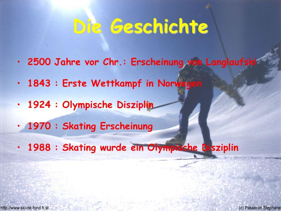 Die Geschichte 2500 Jahre vor Chr.: Erscheinung von Langlaufski 1843 : Erste Wettkampf in Norwegen 1924 : Olympische Disziplin 1970 : Skating Erscheinung 1988 : Skating wurde ein Olympische Disziplin