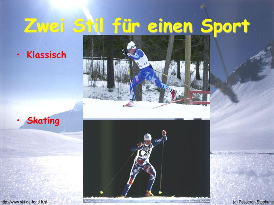Zwei Stil für einen Sport Klassisch Skating