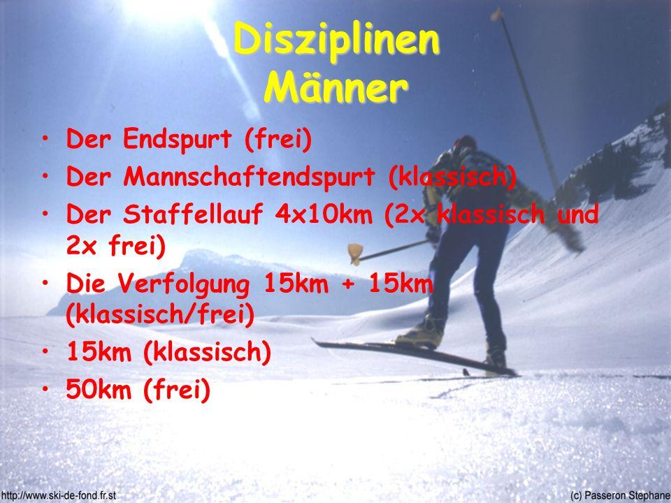 Disziplinen Männer Der Endspurt (frei) Der Mannschaftendspurt (klassisch) Der Staffellauf 4x10km (2x klassisch und 2x frei) Die Verfolgung 15km + 15km (klassisch/frei) 15km (klassisch) 50km (frei)