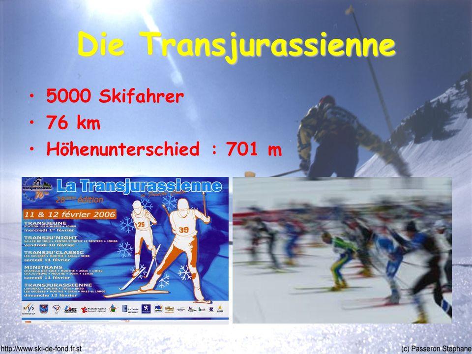 Die Transjurassienne 5000 Skifahrer 76 km Höhenunterschied : 701 m