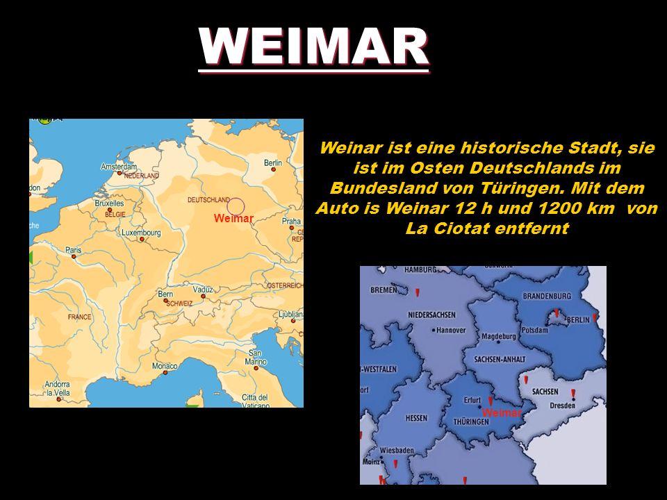 WEIMAR Weinar ist eine historische Stadt, sie ist im Osten Deutschlands im Bundesland von Türingen. Mit dem Auto is Weinar 12 h und 1200 km von La Cio