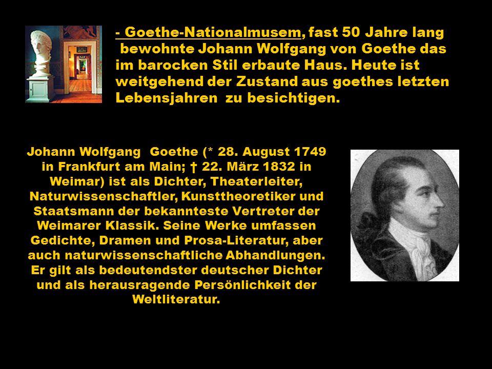 - Goethe-Nationalmusem, fast 50 Jahre lang bewohnte Johann Wolfgang von Goethe das im barocken Stil erbaute Haus. Heute ist weitgehend der Zustand aus