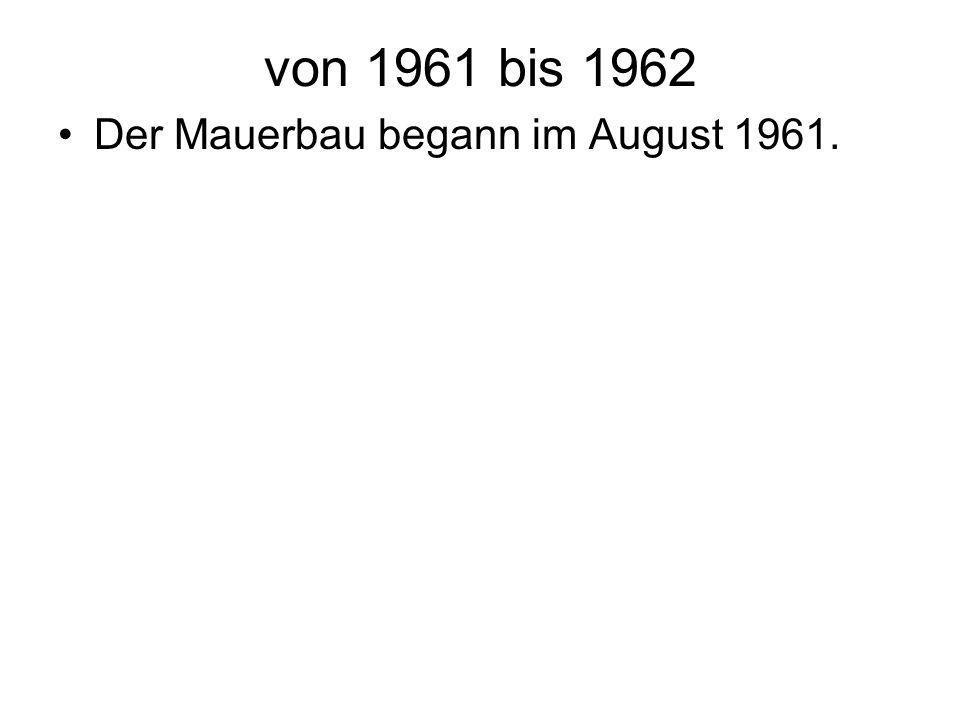 von 1963 bis 1989 Während die DDR den Ausbau der Mauer systematisch vorantreibt und perfektioniert, zeigt sich der Westen wenig handlungsfähig und läßt die DDR sich gewähren.