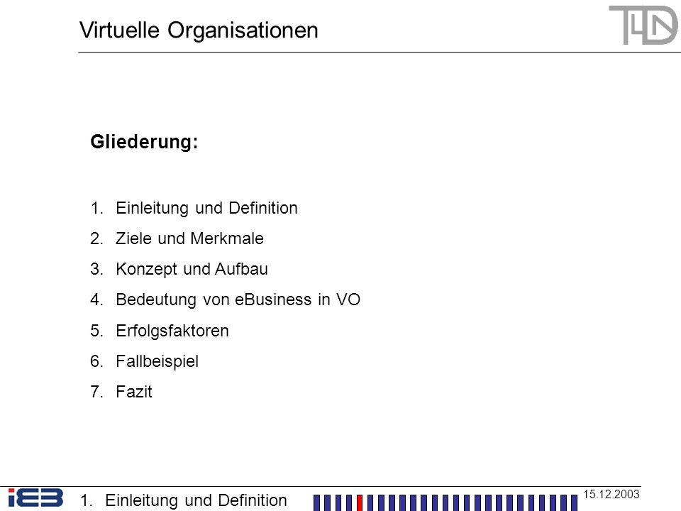 Virtuelle Organisationen 15.12.2003 Gliederung: 1.Einleitung und Definition 2.Ziele und Merkmale 3.Konzept und Aufbau 4.Bedeutung von eBusiness in VO