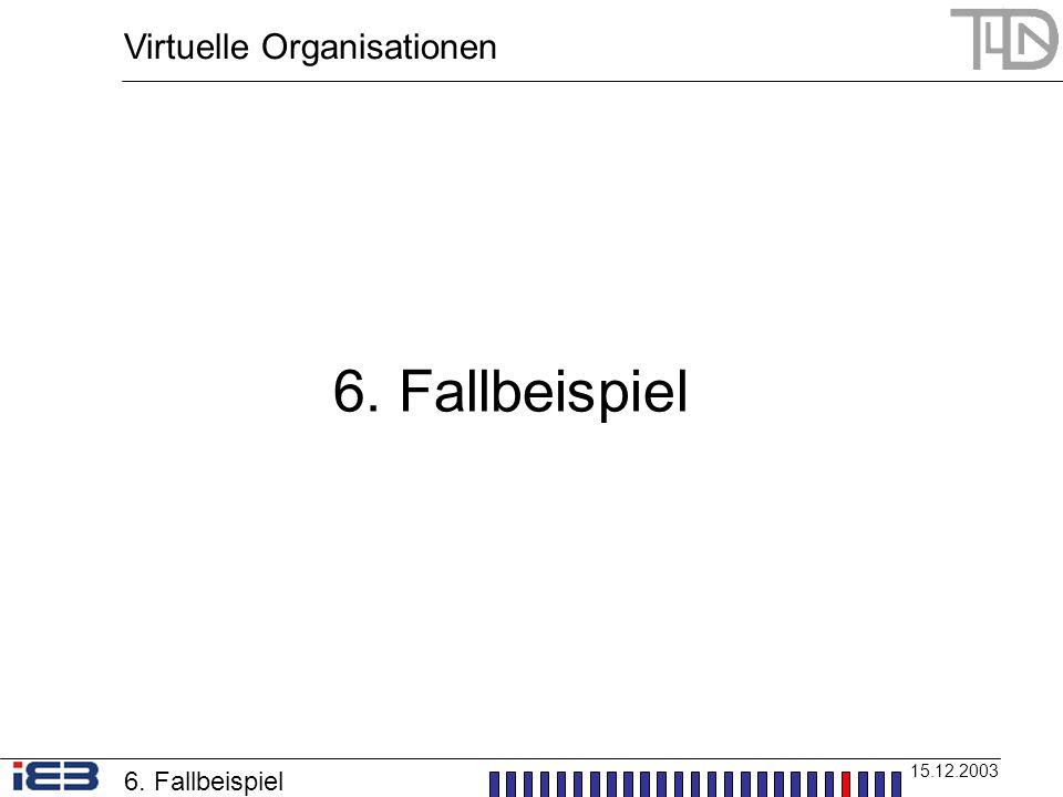 Virtuelle Organisationen 15.12.2003 6. Fallbeispiel