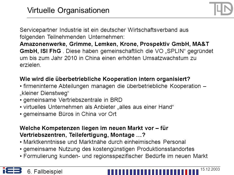 Virtuelle Organisationen 15.12.2003 Servicepartner Industrie ist ein deutscher Wirtschaftsverband aus folgenden Teilnehmenden Unternehmen: Amazonenwer