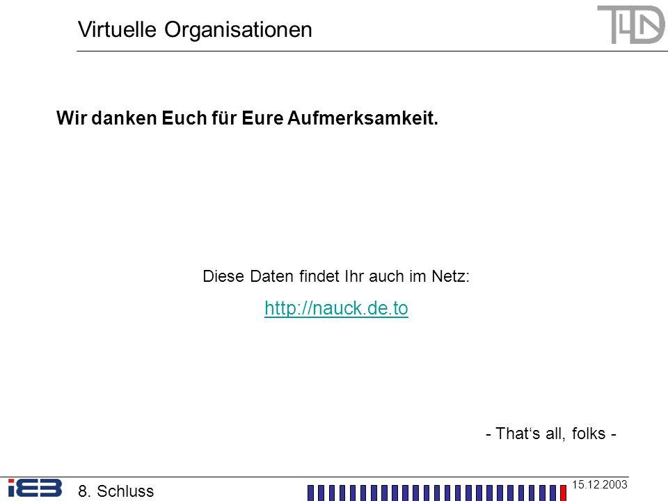 Virtuelle Organisationen 15.12.2003 Wir danken Euch für Eure Aufmerksamkeit. Diese Daten findet Ihr auch im Netz: http://nauck.de.to - Thats all, folk