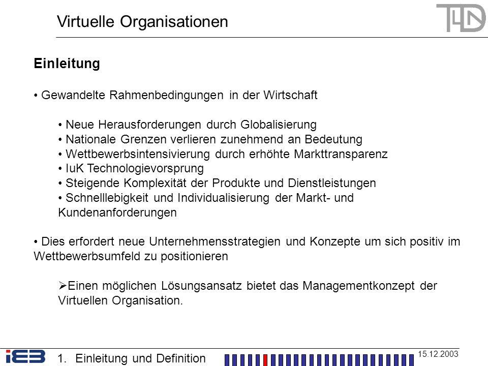Virtuelle Organisationen 15.12.2003 1.Einleitung und Definition Einleitung Gewandelte Rahmenbedingungen in der Wirtschaft Neue Herausforderungen durch
