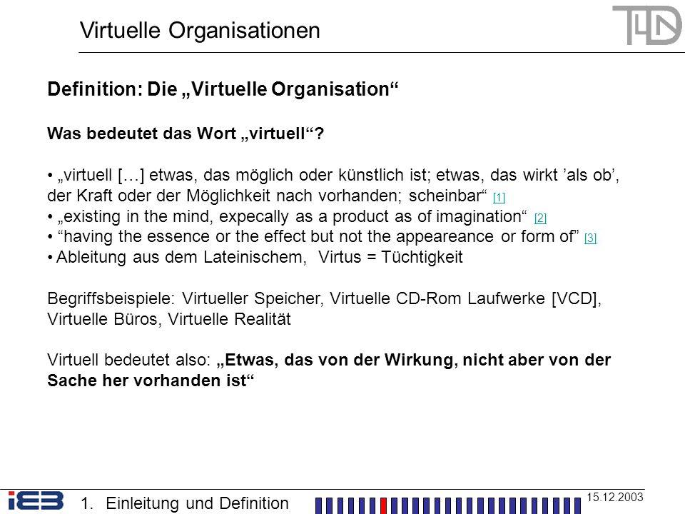 Virtuelle Organisationen 15.12.2003 Definition: Die Virtuelle Organisation Was bedeutet das Wort virtuell? virtuell […] etwas, das möglich oder künstl