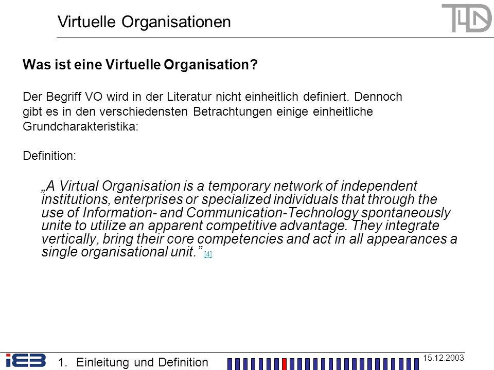 Was ist eine Virtuelle Organisation? Der Begriff VO wird in der Literatur nicht einheitlich definiert. Dennoch gibt es in den verschiedensten Betracht