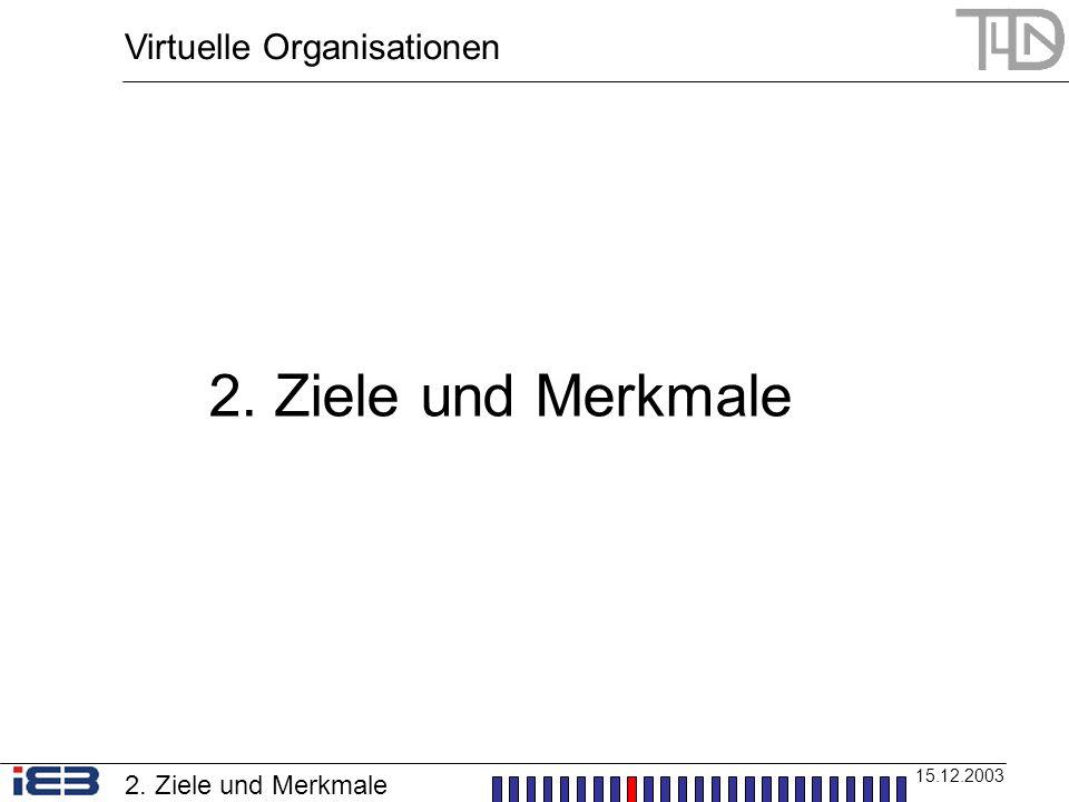 Virtuelle Organisationen 15.12.2003 2. Ziele und Merkmale