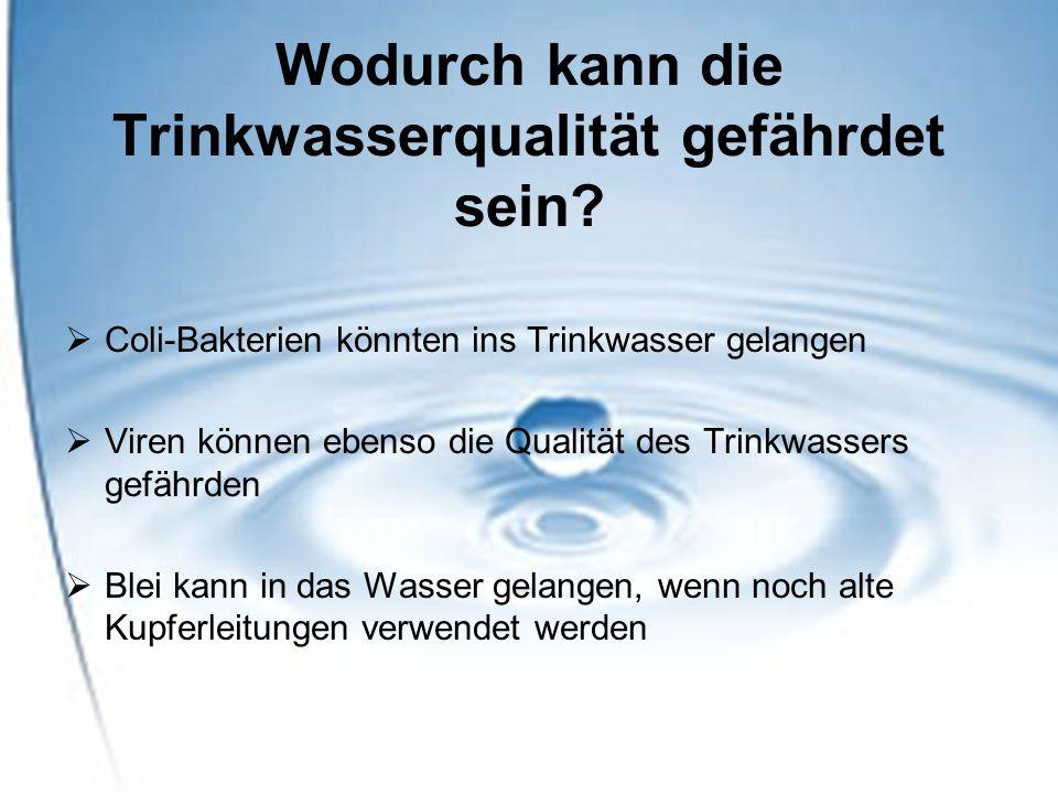 Sicherheit des Trinkwassers Nach TrinkwV müssen minimal 33 im Wasser befindlicher Stoffe auf ihre Grenzwerte hin geprüft werden In unserem Trinkwasser