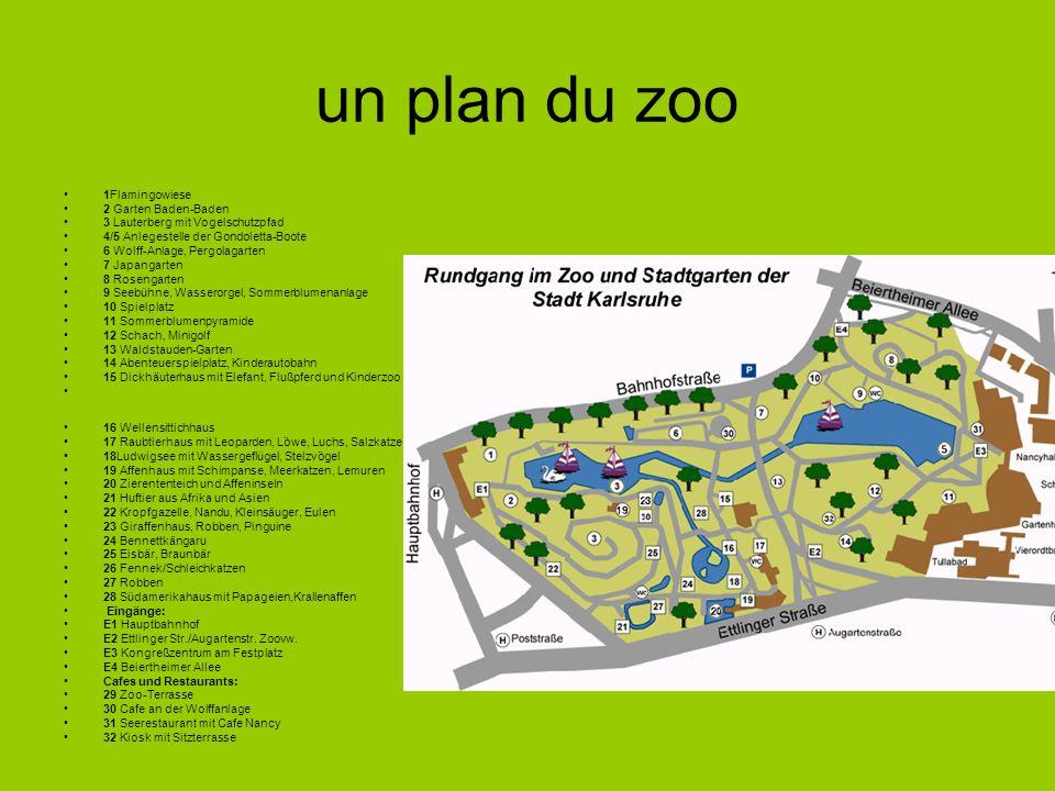 un plan du zoo 1Flamingowiese 2 Garten Baden-Baden 3 Lauterberg mit Vogelschutzpfad 4/5 Anlegestelle der Gondoletta-Boote 6 Wolff-Anlage, Pergolagarte