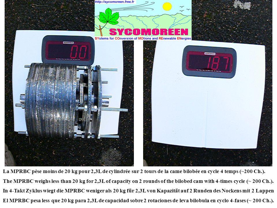 La MPRBC pèse moins de 20 kg pour 2,3L de cylindrée sur 2 tours de la came bilobée en cycle 4 temps (~200 Ch.).