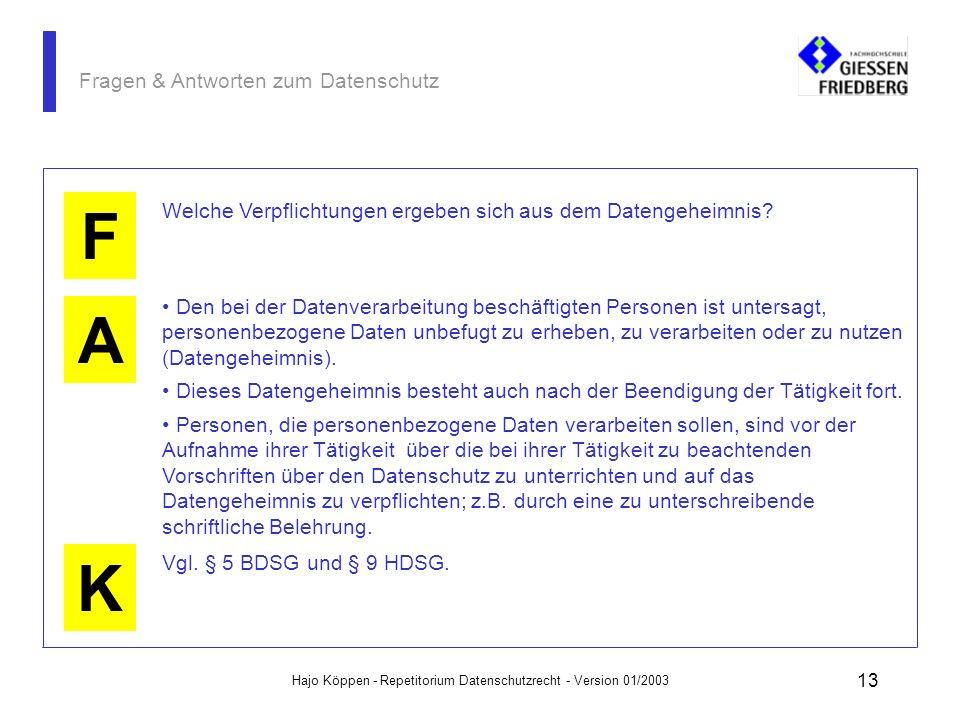 Hajo Köppen - Repetitorium Datenschutzrecht - Version 01/2003 12 Fragen & Antworten zum Datenschutz A K F Warum ist die Vorratsspeicherung nach dem Da