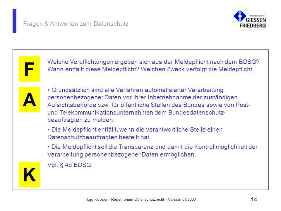 Hajo Köppen - Repetitorium Datenschutzrecht - Version 01/2003 13 Fragen & Antworten zum Datenschutz A K F Welche Verpflichtungen ergeben sich aus dem