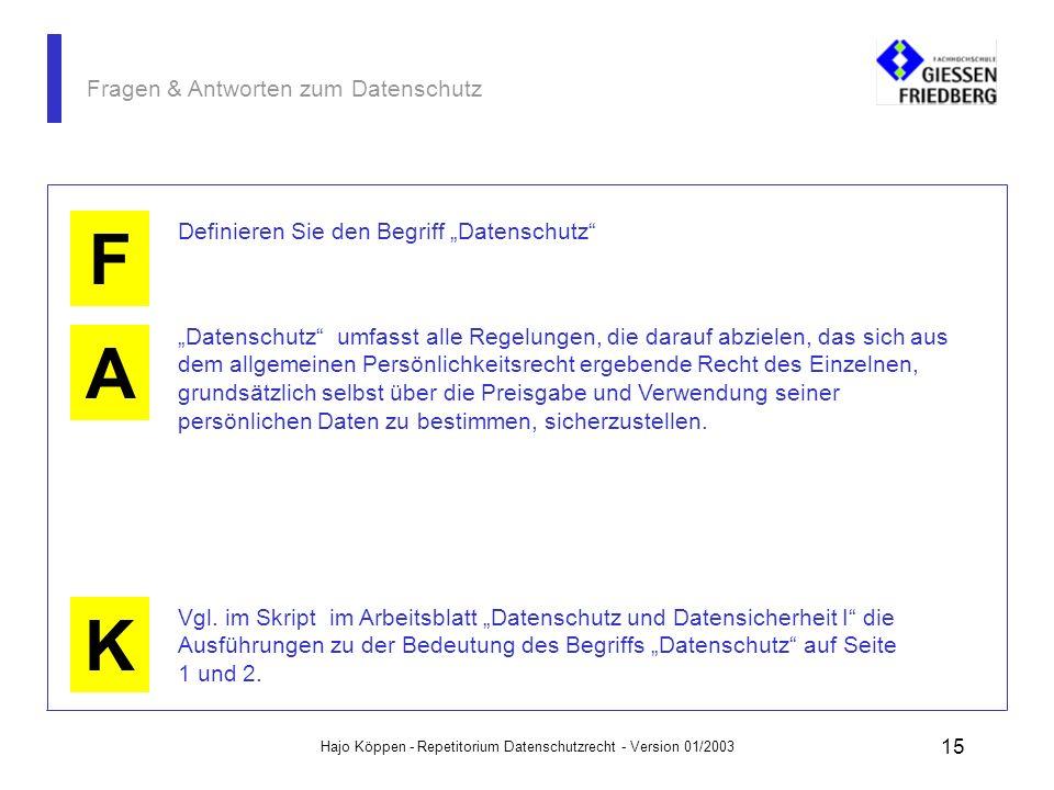 Hajo Köppen - Repetitorium Datenschutzrecht - Version 01/2003 14 Fragen & Antworten zum Datenschutz A K F Welche Verpflichtungen ergeben sich aus der