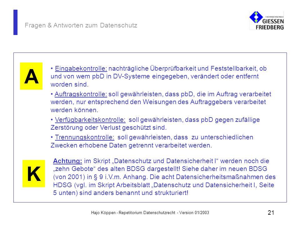 Hajo Köppen - Repetitorium Datenschutzrecht - Version 01/2003 20 Fragen & Antworten zum Datenschutz A F Definieren Sie die Maßnahmen der acht Gebote d