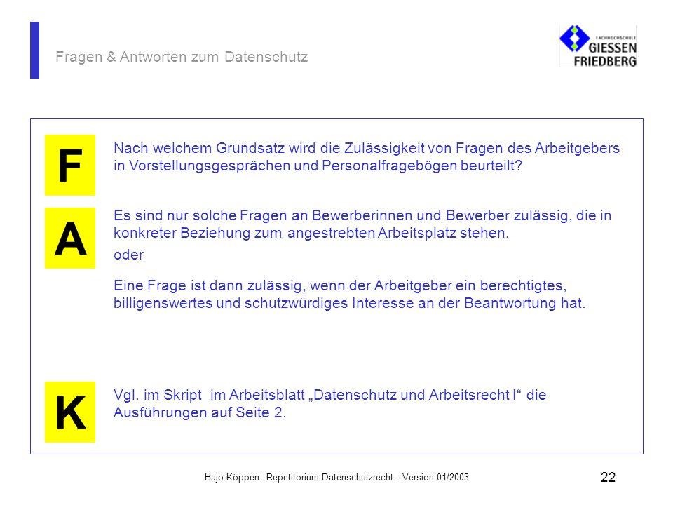 Hajo Köppen - Repetitorium Datenschutzrecht - Version 01/2003 21 Fragen & Antworten zum Datenschutz A K Eingabekontrolle: nachträgliche Überprüfbarkei