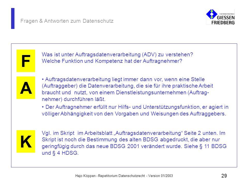Hajo Köppen - Repetitorium Datenschutzrecht - Version 01/2003 28 Fragen & Antworten zum Datenschutz A K F Eine verdeckte, geheime Überwachung ist nich