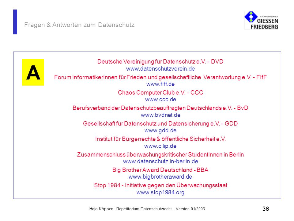 Hajo Köppen - Repetitorium Datenschutzrecht - Version 01/2003 35 Fragen & Antworten zum Datenschutz Im Internet gibt es eine Reihe sehr guter Homepage